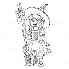 Schattig Meisje In Heks Kostuum Geschetst Voor De Kleurplaat Pagina