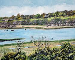 oil painting of kayakers in eastham cape cod ma by jeffrey dale starr
