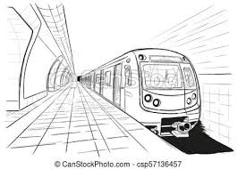subway train drawing.  Train Hand Drawn Sketch Subway Station  Csp57136457 Intended Subway Train Drawing T