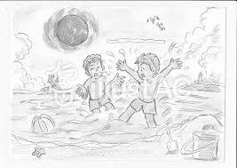 夏の海モノクロイラスト No 176220無料イラストならイラストac