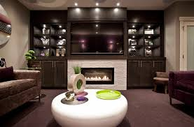 wall mounted fireplace ideas basement transitional with basement cabinetry calgary contemporary image by urban abode
