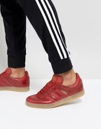 adidas originals gazelle leather sneakers in red bz0025