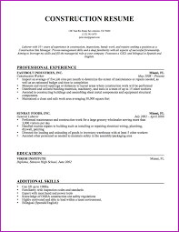 Entry Level Construction Resumes Construction Worker Resume Wudui Me