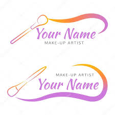makeup logo with brush and curved line stock vector