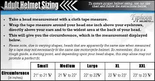 Fox Size Chart Fox Head Helmet Size Chart
