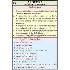 Algebra Definitions And Formulae Chart 50x75cm