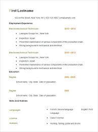 Easy Sample Resume Format Basic Resume Template Free Samples
