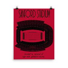 Razorback Football Stadium Seating Chart University Of Georgia Sanford Stadium Seating Chart Poster