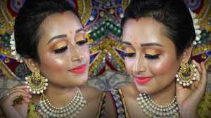 traditional indian wedding guest makeup tutorial saree makeup look