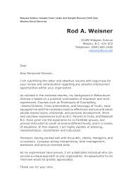 Child Care Cover Letter For Resume Free Resume Templates