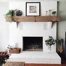painted brick fireplace with wood mantel paint white how to