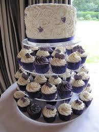 Cupcake Tower In Cadbury Purple And White Wedding Cupcake Ideas