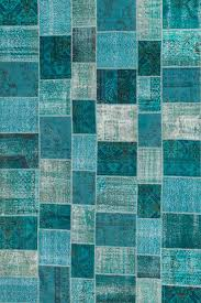rugsville overdyed patchwork teal wool 17023 rug 17023