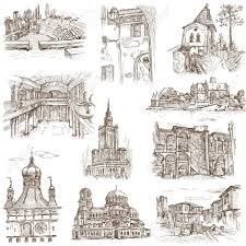Architecture buildings drawings Building Italy Famous Places Buildings And Architecture Around The World Set No 7 White Hand 123rfcom Famous Places Buildings And Architecture Around The World Set