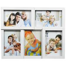 white plastic photo frame collage wall