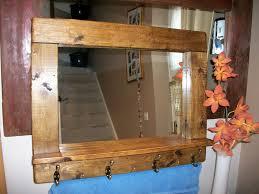 Mirror With Coat Rack Rustic wooden mirror coat rack Dark Oak wax finish with s Flickr 58