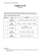 Copper Cycle Lab Report Copper Cycle Lab Report Copper Cycle Experiment 3 Introduction One