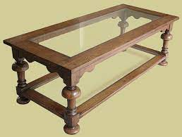 oak coffee table with glass top potboard