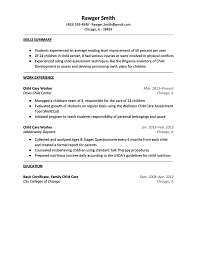 Child Care Resume Skills Child Care Resume Rawger Smith Resume Cover