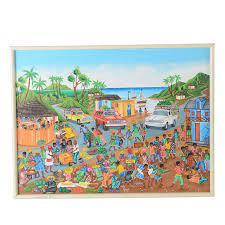 Camille Fritz Original Haitian Tempera Folk Art Painting on Canvas Board    EBTH
