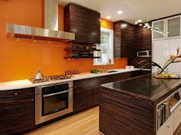 Orange Kitchens Glossy Orange Kitchens Cabinet With Black Glossy Backsplash And