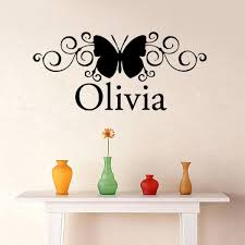 >custom name scroll butterfly wall stickers nursery decor baby girl  custom name scroll butterfly wall stickers nursery decor baby girl bedroom vinyl decals wall art quote lettering home decor in wall stickers from home