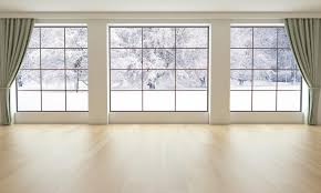 Empty Living Room With Snowy Landscape