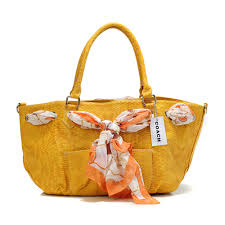 Coach Embossed Scarf Medium Yellow Totes DFL