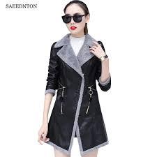 women pu leather suede faux leather jacket zippers jackets autumn winter 2018 new female inside lamb wool warm coat high street malaysia
