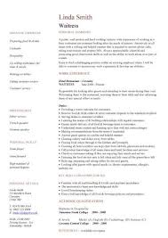 waitress sample resume waitress cv sample