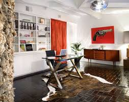 red black home office. Decorations : Fantastic Modern Home Office Design Ideas With Rectangle Laminated Glass Computer Desk And Black Work Chair Also Red