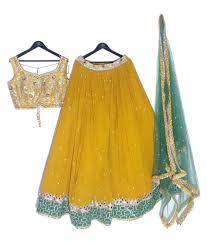 Landmark Designer Studio Online Shopping Landmark Designer Studio Yellow Art Silk Chaniya Choli Stitched Lehenga