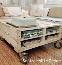 make a pallet coffee table on wheels storage space included