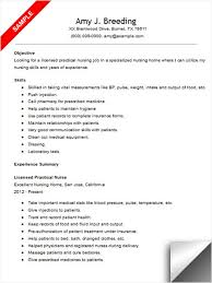 Licensed Practical Nurse Resume Template Writing Lpn Resume Skills