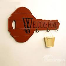 ... Creative Key-Shaped Welcome Home Key Holder Wall Hook