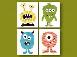 Kids Wall Art Ideas Boy Nursery Decor Monster Nursery Wall Art Playroom Decor Blue