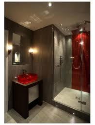 Slate bathroom with splash of colour. Red BathroomsModern BathroomsBathroom  GreyBasement ...