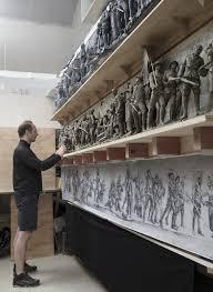 sabin howard sculpting the original clay model 9 feet wide at weta work in wellington new zealand