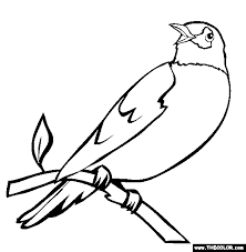 Small Picture Perched Robin Coloring Page Free Perched Robin Online Coloring