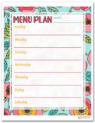 menu planner printable free printable menu plan i should be mopping the floor