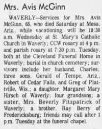 Avis Berry McGinn obituary - Newspapers.com