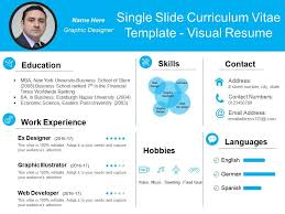 Resume Powerpoint Presentation Single Slide Curriculum Vitae Template Visual Resume