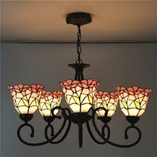 five light nature inspired 24 inch pink stained glass tiffany chandelier ceiling light