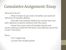 canadian society and identity preparation for end of unit  cumulative assignment essay what will it be on