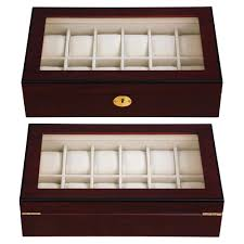 12 watch display wood case top glass jewelry organizesr storage 12 watch display wood case top glass jewelry