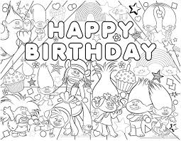 Small Picture Trolls Coloring Pages New Happy Birthday Trolls coloring page