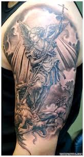 Female Half Sleeve Tattoos Designs Grey Ink Female Archangel Fighting With Evil Tattoo On Half