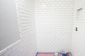 how to install white 3x6 subway tile in a bathroom