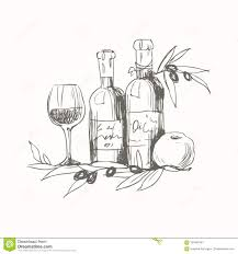 still life with olive oil and wine apple and olive branch ilration for menu cookbook or coloring book sketch isolated on white background