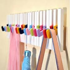 Modern Piano shape decorative wall hooks hangers for clothes keys coat  clothes wood wall shelf home